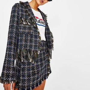 Bershka Women's Tweed Suit Jacket Blaze Navy M-L
